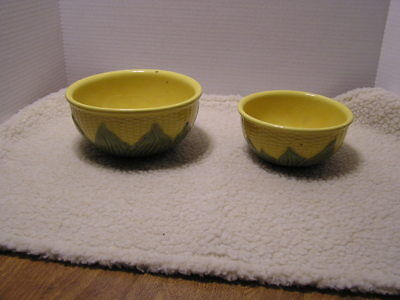 2 Vintage Shawnee Pottery CORN mixing bowls NO's 8 & 6 USA Kitchenware