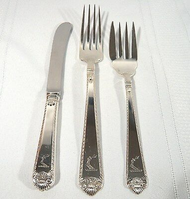 Birks George II Plain Sterling Silver Luncheon Salad Fork Butter Knife Armorial