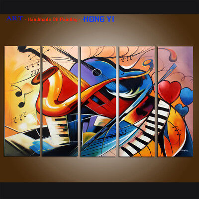 FRAMED Modern Abstract oil Painting Colorful musical Canvas Wall Art Handpainted