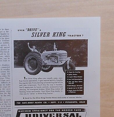1948 magazine ad for Fate-Root-Heath Co. - Silver King tractor, smooth easy
