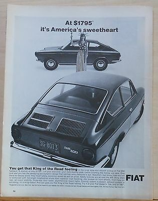 Vintage 1967 magazine ad for Fiat - Fiat 850 Fastback, America's Sweetheart