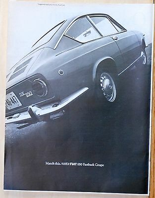 Vintage 1968 magazine ad for Fiat - Photo of Fiat 850 Fastback Coupe