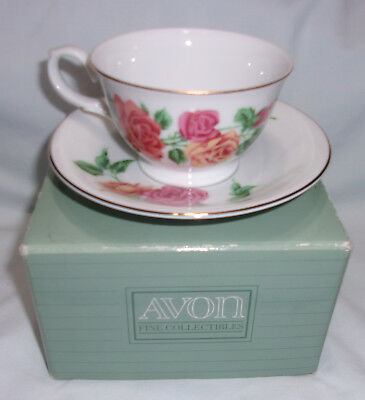 1991 AVON porcelain coffee cup & saucer Blossoms of the Month June ROSE box NOS