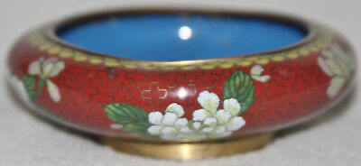Chinese 1930s Cloisonné Flower Design Red Ground Squat Form Bowl