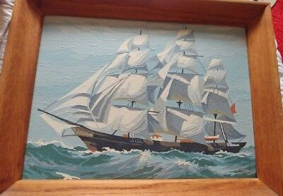 Vintage  Wooden Frame Finished Pbn Paint By Number Clipper Ship Ocean Sailing