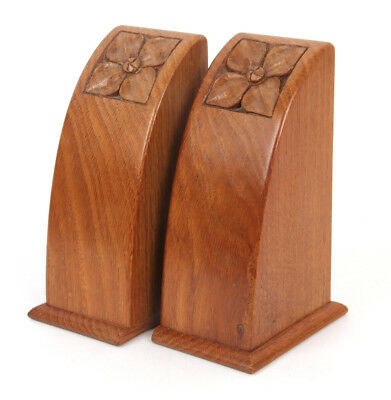 Oak Arts and Crafts Arthur Simpson Pupil Carved Bookends Cotswold School