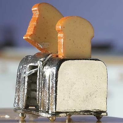 "DOLLS HOUSE 1/12th SCALE METAL  KITCHEN METAL "" POP UP"" TOASTER AND TOAST"