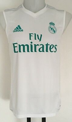 7c889c3fd Real Madrid 2017 18 White Sleeveless Training Shirt By Adidas Size Adults  Small