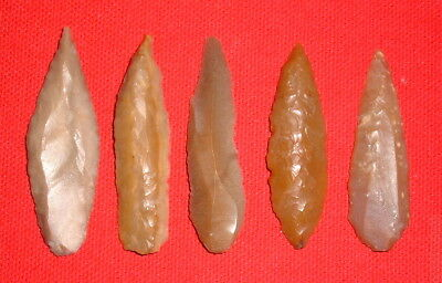 (5) Select Sahara Mesolithic Morocco Blades, Prehistoric African Artifacts