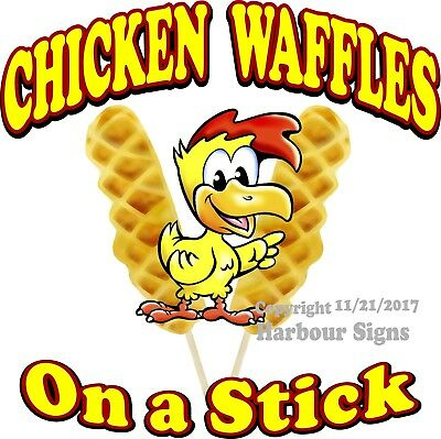 Chicken Waffles on a stick DECAL (Choose Your Size) Food Concession Sticker