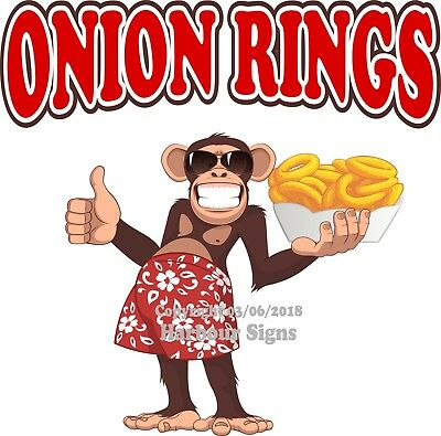 Onion Rings DECAL (Choose Your Size) Monkey food Truck Concession Sticker