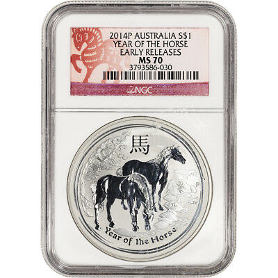 2014 P Australia Silver Lunar Year of the Horse 1 oz $1 NGC MS70 Early Releases