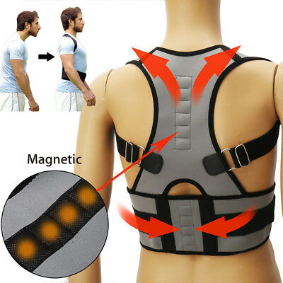 Adjustable Magnetic Posture Corrector Back Support Lumbar Shoulder Brace Belt LC