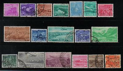 India 1955 Five Year Plan Definitive Complete Set 0F 18 Scott #254-271 Used