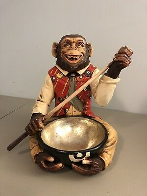 Billiards Monkey Resin Statue -  Talc Cone Holder - RARE - Adelita Bernardo