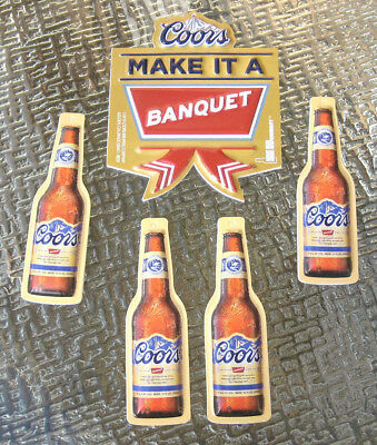 New ( 5 Lot) Bottle Sign COORS Banquet Beer Christmas Ornaments Decoration NOS