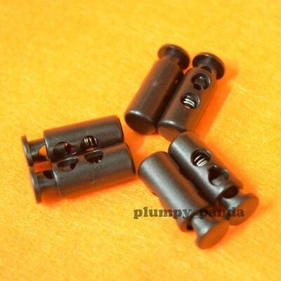 "Black Cylinder (Hole = 3/16"") 2 Holes Cordlock Cord Locks Toggle Barrels Stopper"