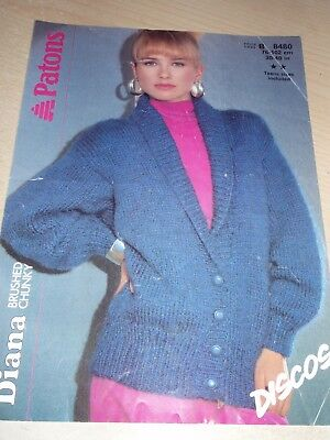 Patons Chunky Ladys Jacket With Garter Stitch Collar Knitting