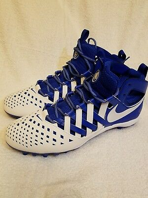 Nike Huarache V5 Lacrosse/Football Cleats Mid Men's 13 White Blue Lax 807142 411
