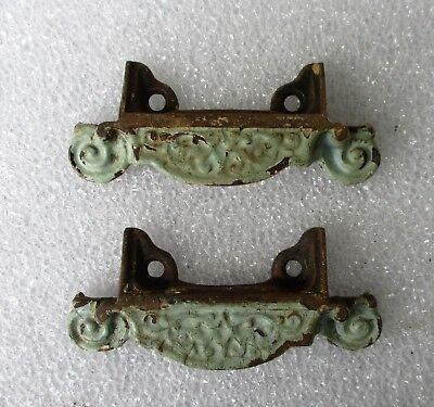 2 Fancy Antique Victorian Cast Iron Bin Apothecary File Drawer Pulls