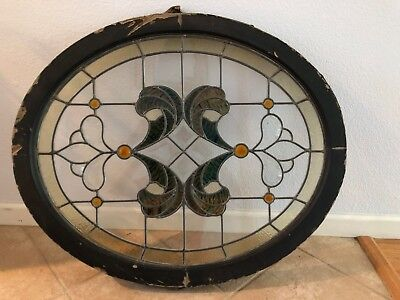 Antique Oval Leaded Stained Glass Window with Beveled glass and Jewels Victorian