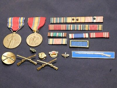 WWII US Military Campaign Award Ribbons US Army USMC Medals Sterling Infantry