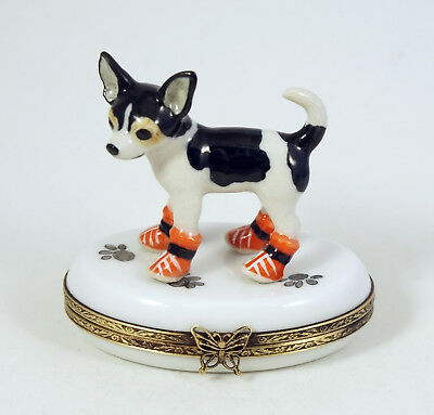 New French Limoges Trinket Box Chihuahua Dog Puppy In Shoes On Dog Paw Prints