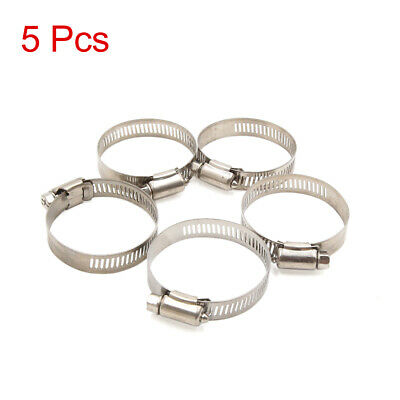 5pcs 27-51mm Adjustable Stainless Steel Car Worm Fuel Hose Pipe Clamp Clips