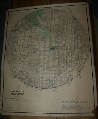 c1950 VINTAGE BUFFALO NY BOY SCOUTS of AMERICA MAP BSA CIVIC MERIT BADGE