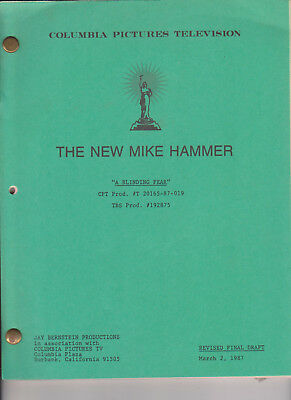 NEW MIKE HAMMER 1987 Multi-Colored SCRIPT with Cast List Name Changes Set-Used