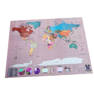 58x83cm Travel Tracker Scrape Off World Map Poster Map Wall Art Home Decor
