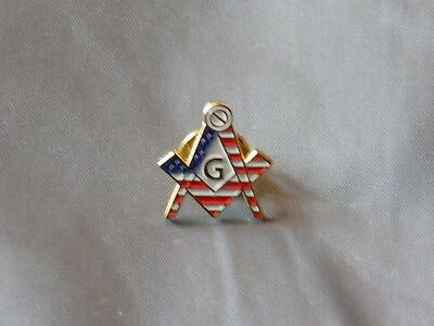 Master Mason Lapel Tac Pin Cut Out Square Compass US Flag Fraternity  NEW!