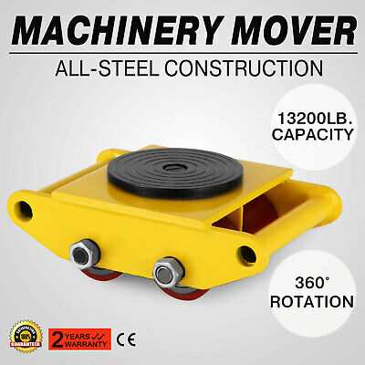 Machinery Mover with 360°Rotation Cap 13200lbs 6T 4 Rollers Dolly Skate