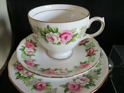Vintage Salisbury china pretty floral Tea cup and saucer & plate TRIO lovely