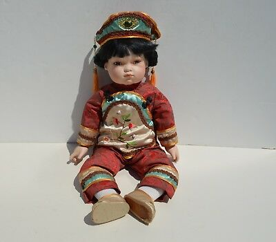 Beautiful Vintage Chinese Girl Doll With Jade Necklace & Embroidery Clothes 22""
