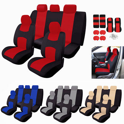 Universal 9Pcs Full Set Seat Covers Cushion Front Rear For Car SUV Truck 4-Color