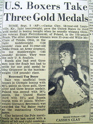 1960 newspaper CASSIUS CLAY WINS OLYMPIC BOXING GOLD MEDAL b4 HeWas MUHAMMAD ALI