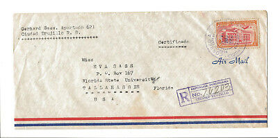 1953 Dominican Republic registered airmail cover to Tallhassee FL