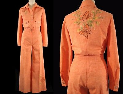1970's BUTTERFLY BELL BOTTOMS Vintage Orange Shirt Pants Set Embroidered Hippie