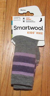 Smartwool Kids Boys Girls Gray Purple Stripe Hike M Crew Socks M NWT