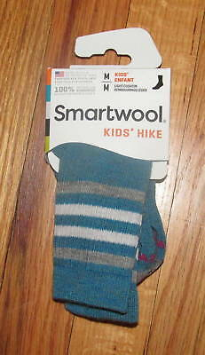 Smartwool Kids Boys Girls Glacial Blue Stripe Hike LT Crew Socks S, M NWT