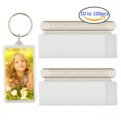 Lot 10-100 Clear Blank Key Rings DIY Photo Jumbo Keychains Key Fobs 53 x 28mm