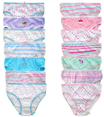 Girls 7 Pack Briefs Pants 100% Cotton Size 2/3, 3/4, 5/6, 7/8 Colourful BNWT