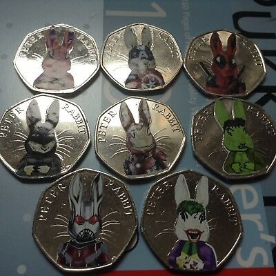 Beatrix Potter Peter Rabbit Marvel Super hero decal 50p set Spider Bat Deadpool