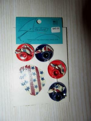 Miniature Dollhouse 1:12 Scale 4Th Of July Dinner Set For 4 W/napkins - Barb-13C