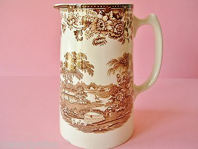 Antique Royal Staffordshire Tonquin Brown White Clarice Cliff England Pitcher