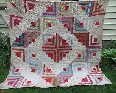 Vtg Antique Log Cabin Cutter Study Quilt Hand Stitched Old Fabrics Tattered Worn