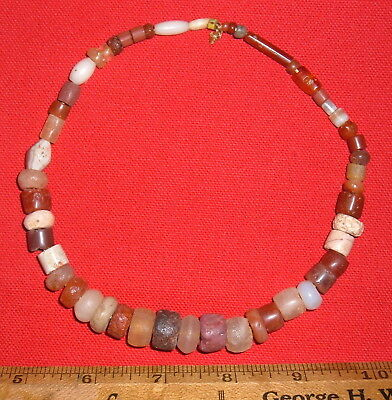 Short Strand of Sahara Neolithic Color Stone Beads Prehistoric African Artifacts