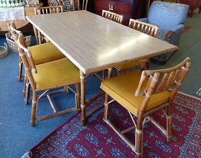 ATOMIC FICKS REED Mid Century Modern Rattan Table 6 Chairs Dining Set