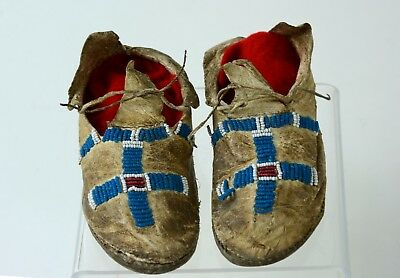 """Handsome Antique Plains Indian Child's Moccasins - late 19th century 4 1/2"""""""